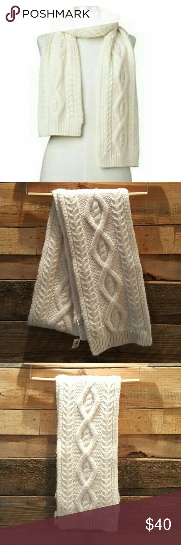 "🌟NWT GAP DIAMOND CABLE KNIT SCARF🌟 GAP BRAND NEW WITH TAGS DIAMOND CABLE KNIT SCARF COLOR SNOW CAP 76"" LONG X 8 1/4"" WIDE SOFT & COZY & THICK BEAUTIFULLY CONSTRUCTED RIBBED AT HEMS BEAUTIFUL CREAM NUETRAL COLOR GOES WITH EVERYTHING! 65% ACRYLIC, 20% WOOL,6% NYLON, 5% ALPACA, 4% POLYESTER *NO TRADES NO RETURNS* GAP Accessories Scarves & Wraps"