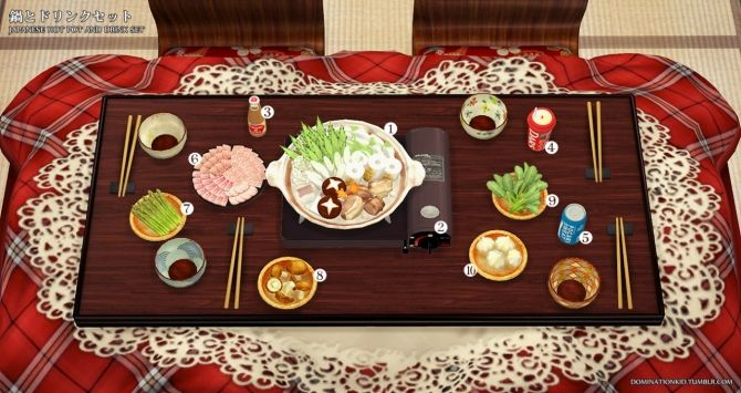 Japanese hot pot n' drinks set at Dominationkid • Sims 4 Updates