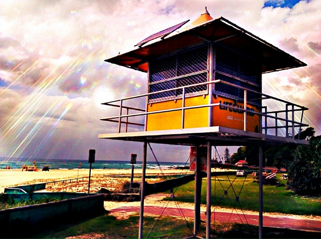 """A bit of Android art.  Taken with a HTC Android phone using a HDR App and then edited using another App to add the """"devine"""" effect.    Kirra Beach Lifeguard Tower 