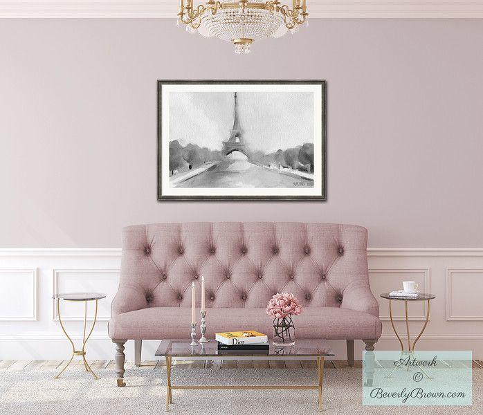 blush pink living room with eiffel tower large framed watercolor print by beverly brown www