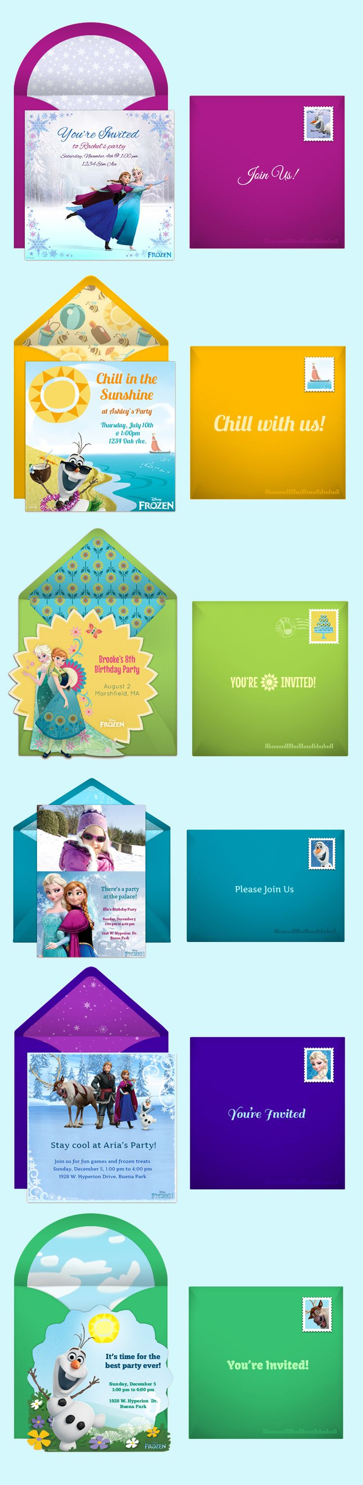 Paper invites are too formal, and emails are too casual. Get it just right with online invitations from Punchbowl. We've got everything you need for your Frozen themed party. http://www.punchbowl.com/disney/groups/frozen/?utm_source=Pinterest&utm_medium=3.23P