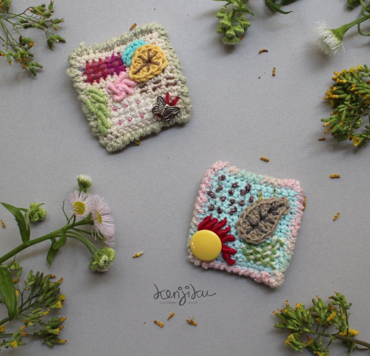 spring crochet brooches : shiny spring & lovely butterfly by KenjikuMade on Etsy
