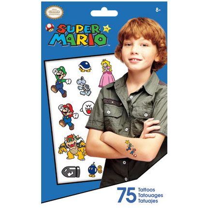 Mario Party Supplies: Super Tattoo Bag 75ct Party Supplies Canada & Halloween Supplies Canada - Open A Party