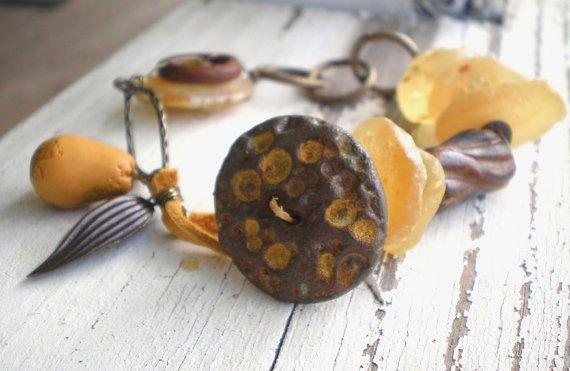 Amber Pear bracelet mustard rustic pear. by jettabugjewelry