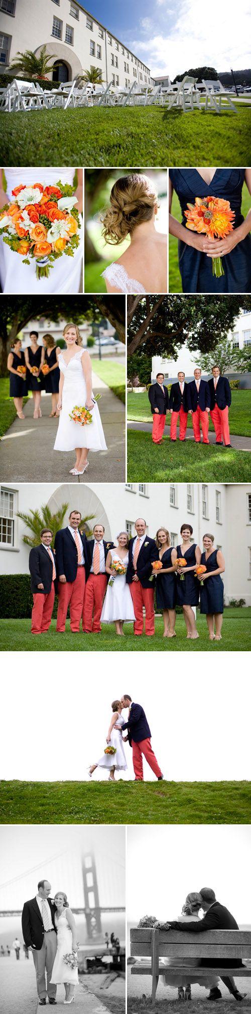 Orange and Navy Blue Presidio, San Francisco Wedding Style - Nicole and Wyatt - Junebug's Wedding Blog - Celebrating the Best in Wedding Style, Fashion, Photography and Decor