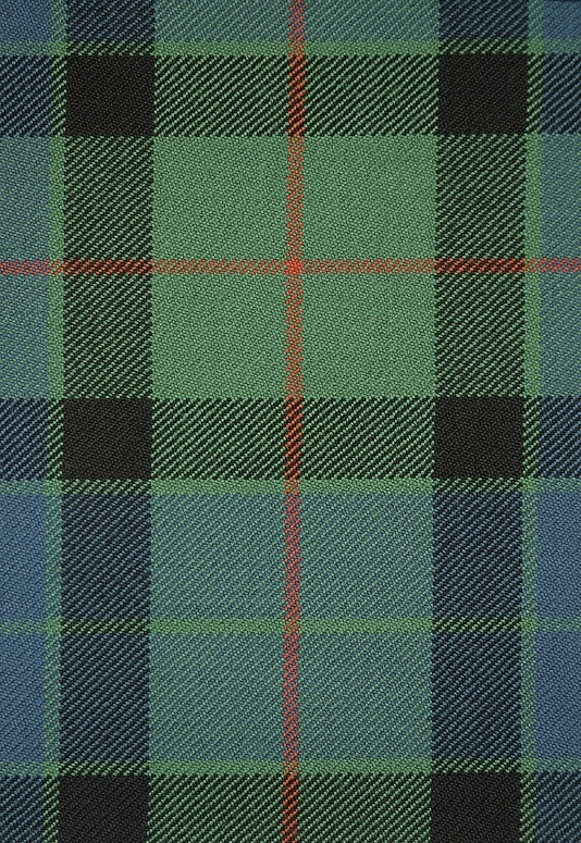 Gunn Tartan Fabric A wool tartan of fresh greens and blues with detail of black and a copper highlight throughout. Suitable for furnishings and curtains.