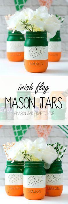 Irish Flag Mason Jars | Mason Jar Craft Ideas for St. Patrick's Day @ Mason Jar Crafts Love