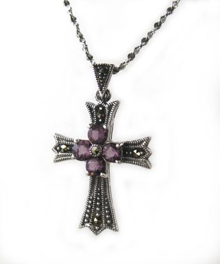"""Amethyst Marcasite Sterling Silver Cross Pendant Necklace, 18"""""""""""