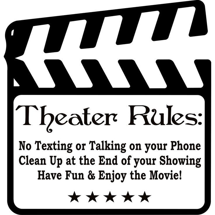 This beautiful vinyl applique applies to smooth surfaces like walls, glass, tile, etc. Great for home, office, wedding, anniversary, or housewarming gifts. Title: Theater Rules Movie Room Colors: Blac