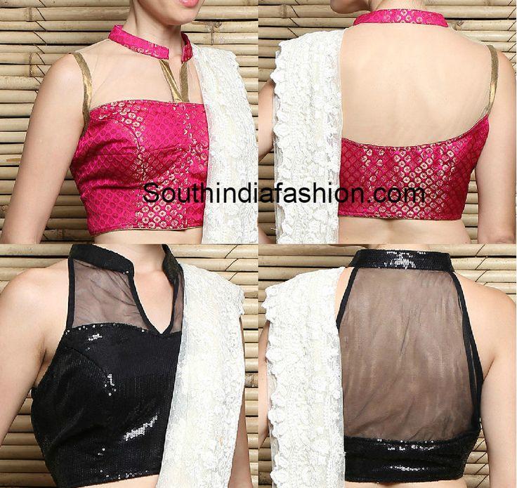 Collar Neck blouse designs for sarees