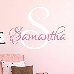 """Nursery Custom Name Wall Decal Sticker, 23"""" W by 20"""" H, Girl Name Wall Decal, Girls Name, Wall Decor, Personalized, Girls Name Decor, Girls Nursery, Girls Bedroom, PLUS FREE WHITE HELLO DOOR DECAL"""