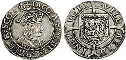 Groat of James V, Edinburgh mint, 1526x1539