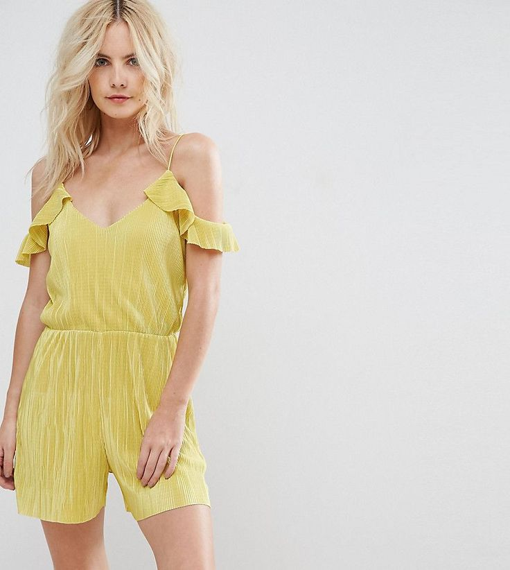 Missguided Petite Pleated Cold Shoulder Frill Sleeve Romper - Yellow