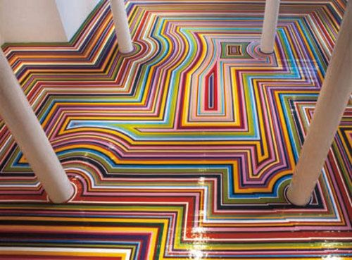 jim lambie - I think these floors would give me a headache if I lived with them but they're nice to look at for a little while.