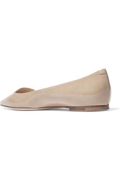 Jimmy Choo - Attila Patent-leather Point-toe Flats - Beige - IT34