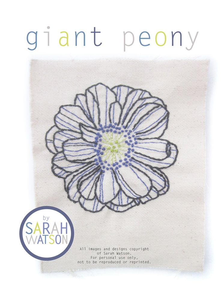 Giant Peony Embroidery Pattern by Sarah Watson