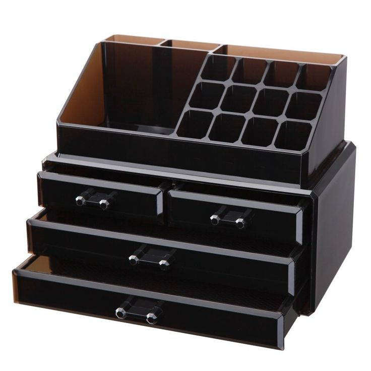 GLAM NYC 2 PC Acrylic Jewelry Cosmetic Makeup Storage Unit