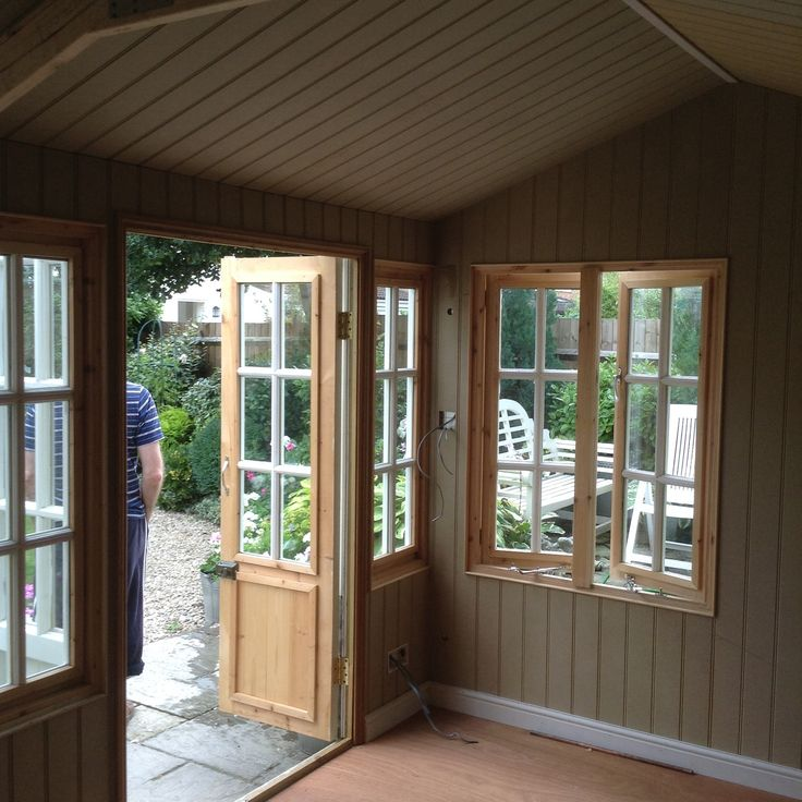 Summerhouse insulated and lined with Moisture resistant MDF tongue and groove sheets