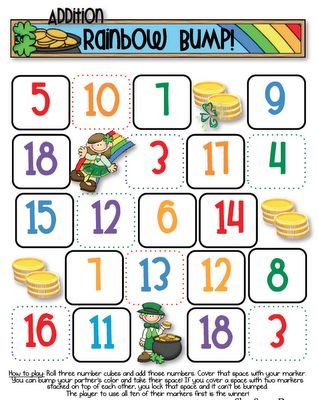 March Rainbow Bump: Practice Addition, Marching Rainbows, Fun Math Games, The Games, Classroom Ideas, Bump Games, Freebies Friday, Ferns Freebies, Rainbows Bump