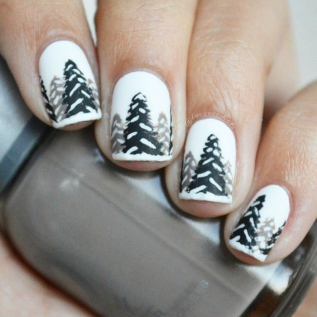 Snowy forest mani! ❄ Completely inspired by @nailsbyjema! If only I had a textured white... ha anyways I think these turned out super cute! Hopefully we'll see some snow this year in the PNW!