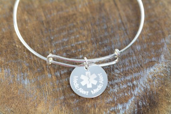 Custom Engraved Medical Alert Bracelet 925 Sterling Silver by ShinyLittleBlessings