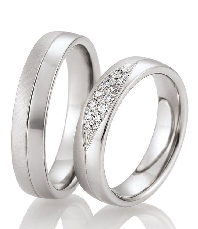 Besondere Trauringe aus Palladium. Klassisches Design mit traumhaften Diamanten.