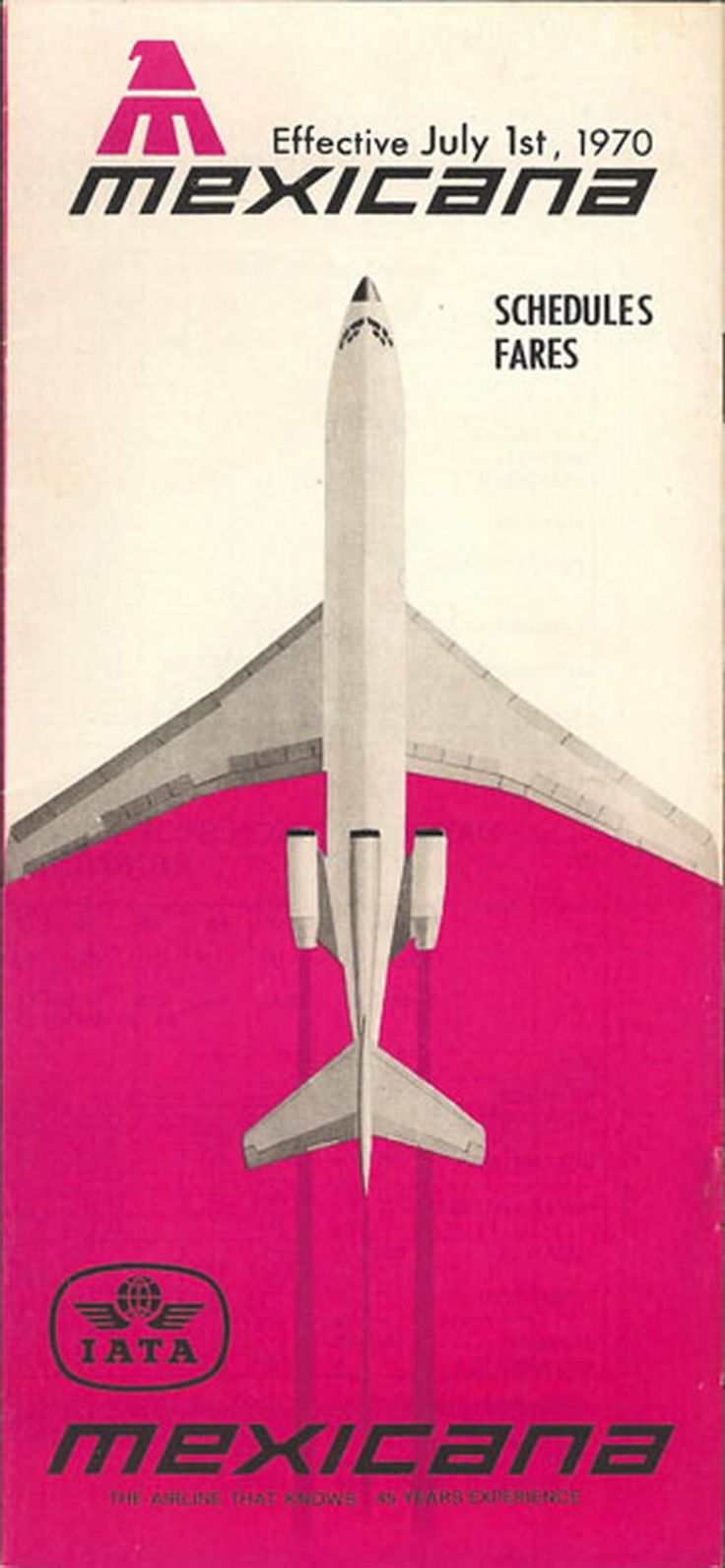 Vintage airline timetable for MEXICANA Airlines - Website Credit Here - http://www.aviationexplorer.com/vintage_airline_timetables.html