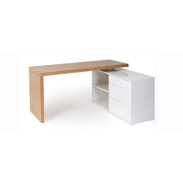 bureau design modulable blanc brillant et fr ne new max conception de bureau design et bureaux. Black Bedroom Furniture Sets. Home Design Ideas