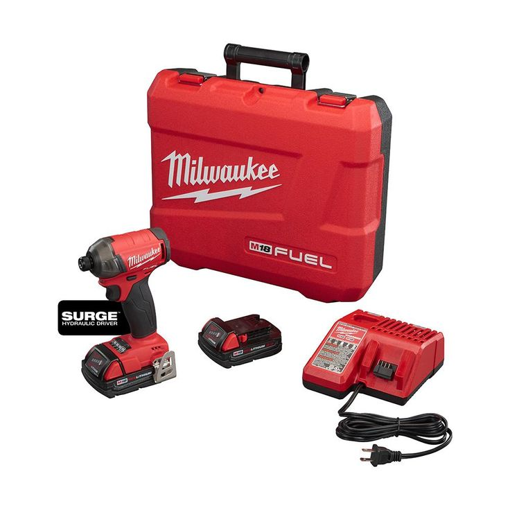 Milwaukee M18 FUEL SURGE 18-Volt Lithium-Ion Brushless Cordless 1/4 in. Hex Hydraulic Impact Driver Compact Kit-2760-22CT - The Home Depot