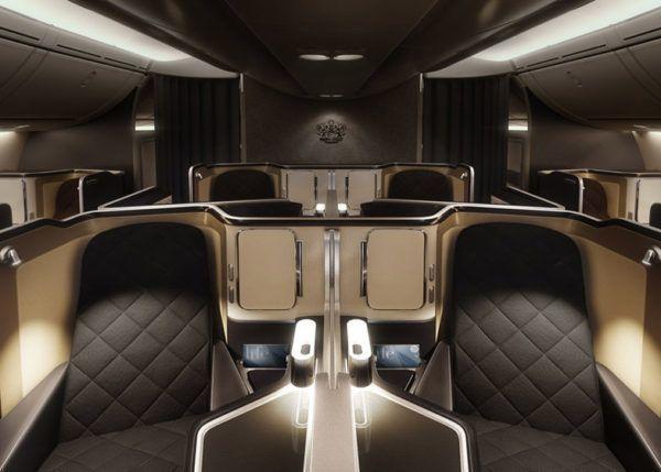 British Airways First Class 787 Dreamliner cabin view
