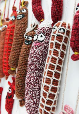 for veggies! crocheted salami!