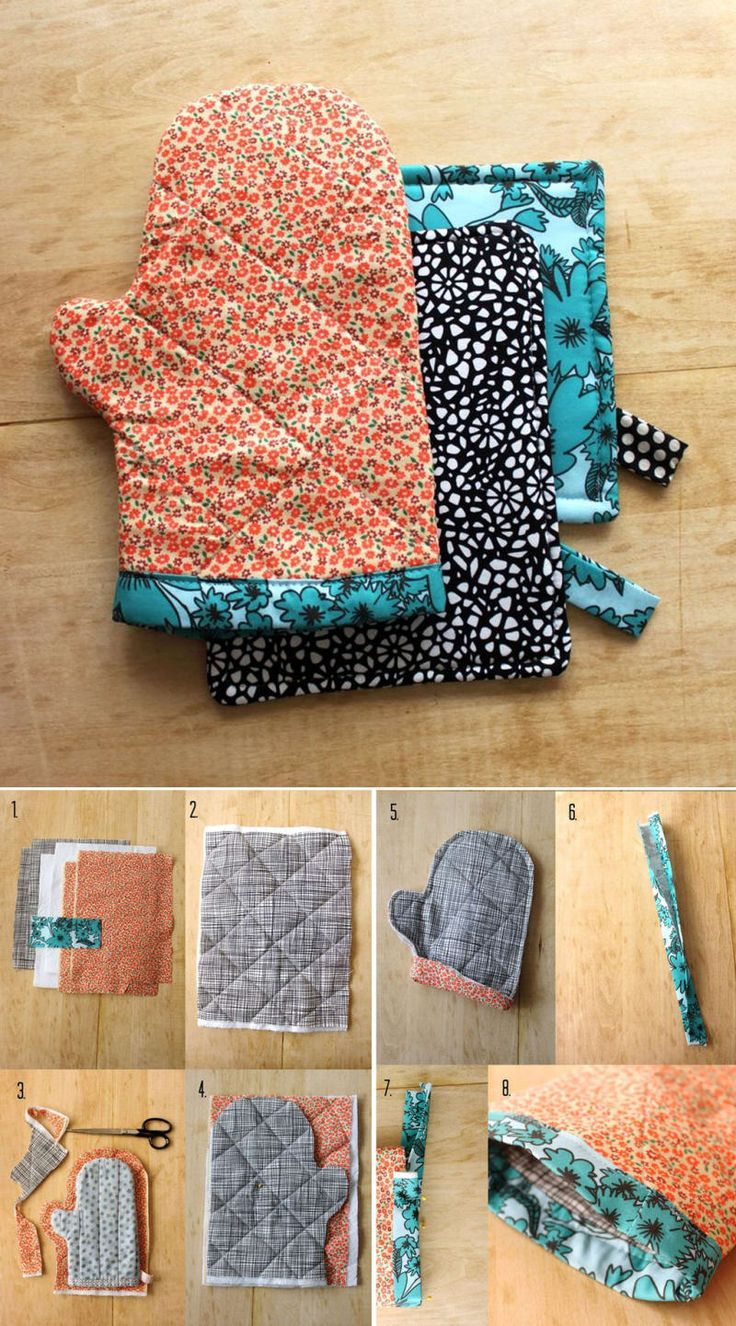 Sew an oven mitt out of fabric scraps