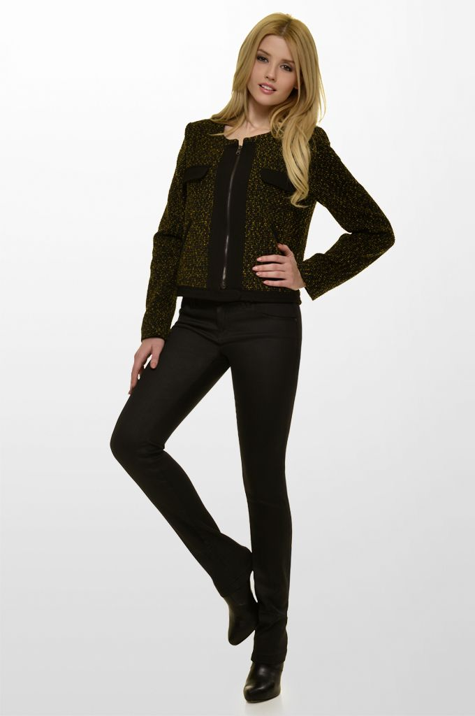 Sarah Lawrence - bouclé crew neck zip blazer with black trimming, skinny denim pant.