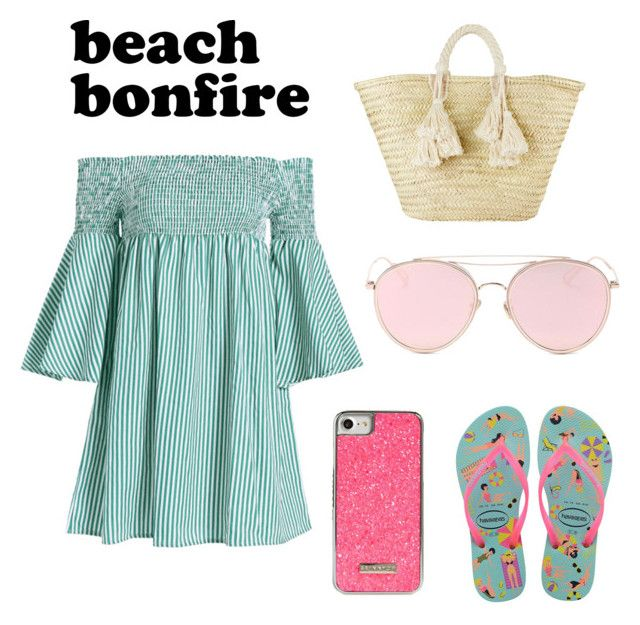 """beach bonfire"" by geopaganeli on Polyvore featuring Havaianas, Giselle, Skinnydip and LMNT"