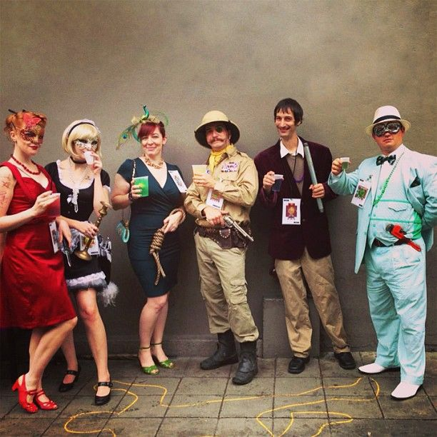 group of friends dressed as the clue characters for halloween - Funny Character Halloween Costumes