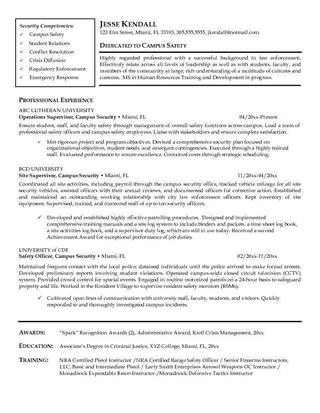 example resume of security guard