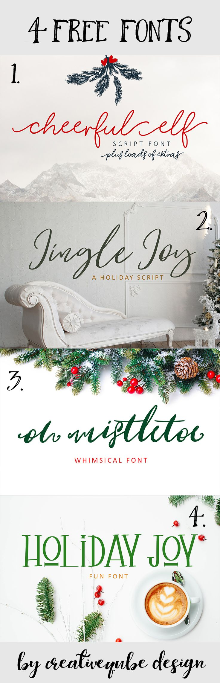 4 Free Fonts: Cheerful Elf, Jingle Joy, Oh Mistletoe, Holiday Joy