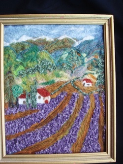 Wool art, needle felt art, wool painting, needle felted art, lavender fields, needle felted painting, needle felt