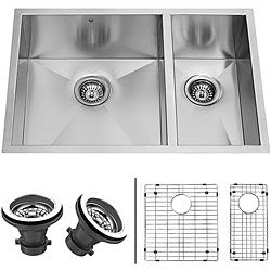 VIGO 29-inch Undermount Stainless Steel Kitchen Sink, Two Grids and Two Strainers | Overstock.com Shopping - The Best Deals on Kitchen Sinks