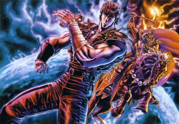 Hokuto no ken aka fist of the north star. Only the Manliest anime ever! great storyline, and Bruce Lee/Xena action lol. Lynn`s my favorite, she`s so cute and strong :)