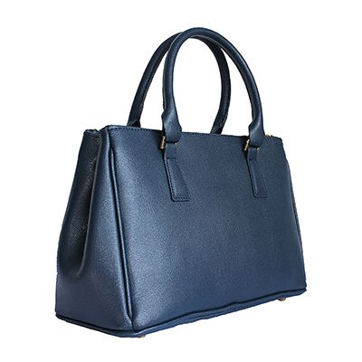 Navy Blue Leather Bowler Handbag - Down to £44.99 from £59.99