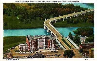 Schenectady New York NY 1927 Hotel Van Curler & Great Western Bridge Postcard
