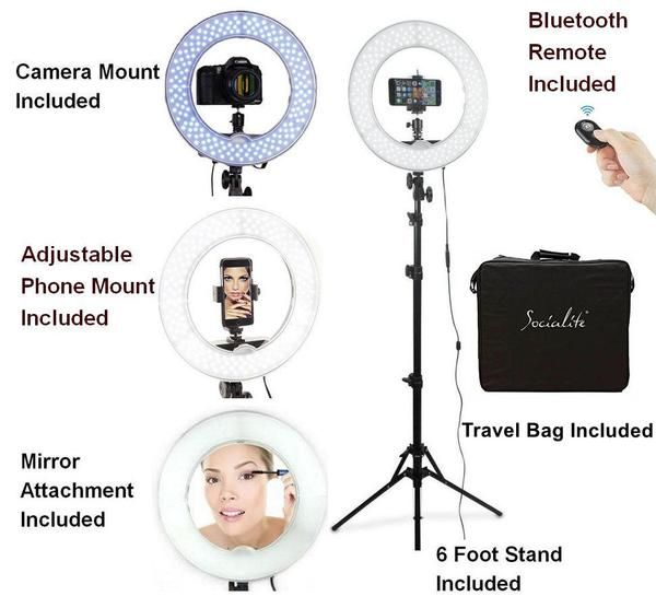 Socialite 12 Inch Led Ring Light Kit Incl Ring Light 6 Foot Stand Dslr Iphone Mount Remote Led Ring Light Led Ring Iphone Mount