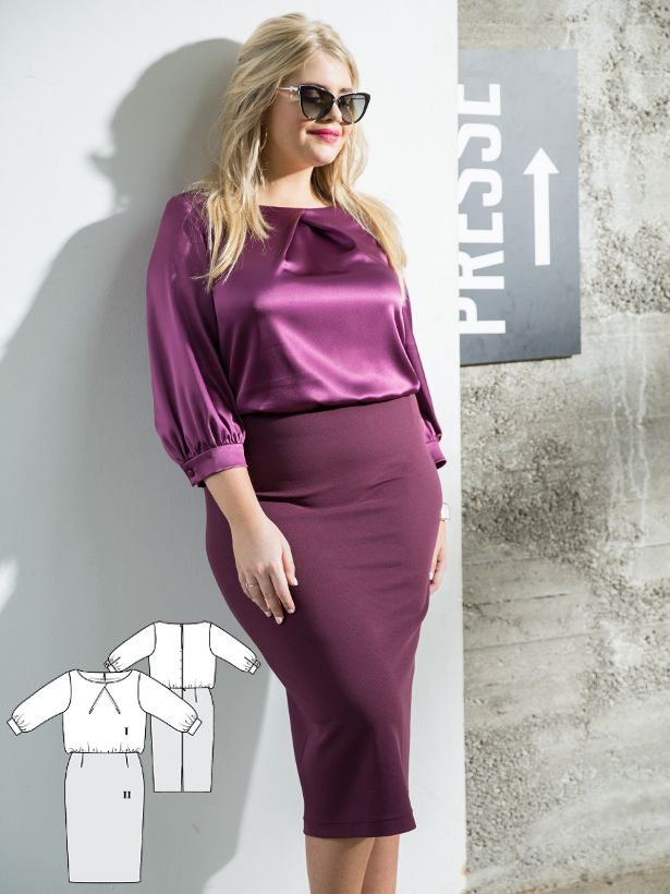 A cool and glamorous dress. The satin top features inlaid pleats at the neckline as well as along the banded sleeves and the skirt is sewn in a jersey. Both pieces come together at the waistline with an elastic casing – so the dress is not only incredibly comfortable, it also stays perfectly in place.