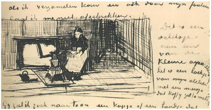 Girl near the Stove, Grinding Coffee Vincent van Gogh Letter Sketches,  The Hague: January - middle of month, 1882 Van Gogh Museum Amsterdam, The Netherlands, Europe F: ;170, ;JH: ;91
