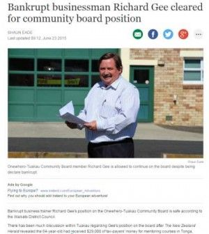 Bankrupt business trainer Richard Gee's position on the Onewhero-Tuakau Community Board is safe according to the Waikato District Council.