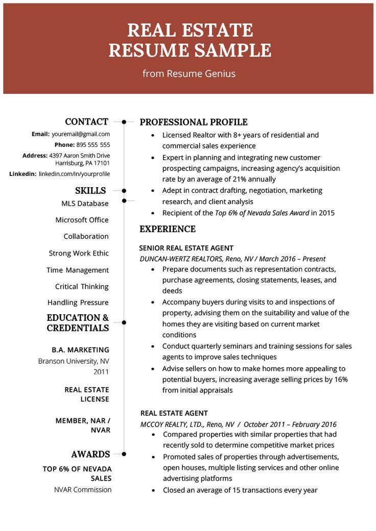 Real estate agent resume writing guide resume genius