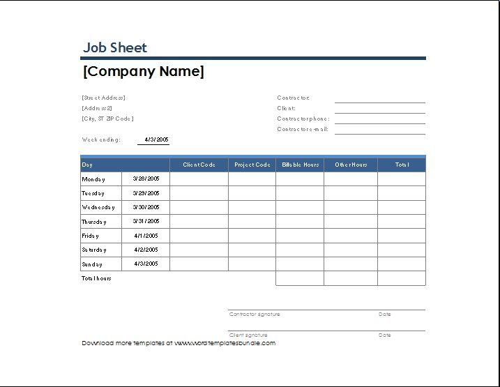 excel job sheet template cvletterbillybullock - job sheet example