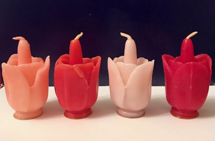 4 Vintage Gurley Easter Tulips Flowers Candles Excellent Condition Rare