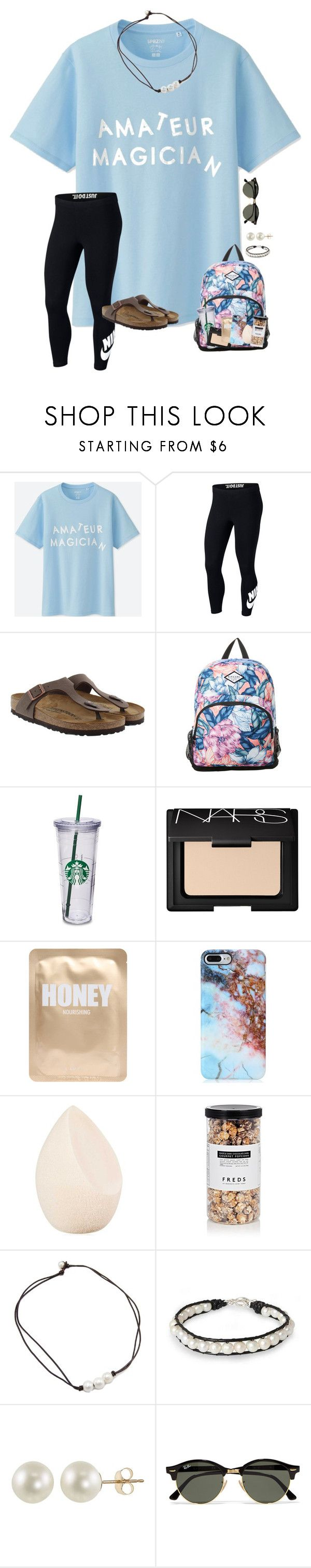 """""""~pm me:) i'm bored~"""" by taylortinsley ❤ liked on Polyvore featuring Uniqlo, NIKE, Birkenstock, Rip Curl, NARS Cosmetics, Lapcos, Christian Dior, FREDS at Barneys New York, NOVICA and PearLustre by Imperial"""